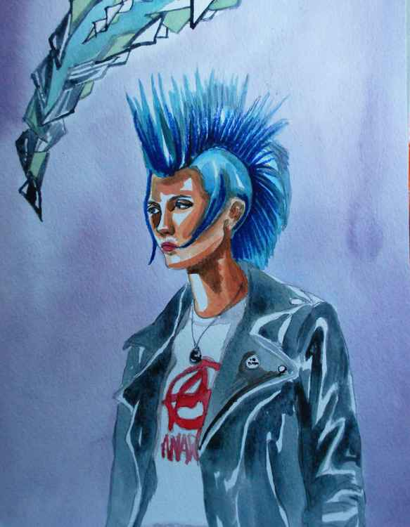 blue mohawk and anarchy t shirt