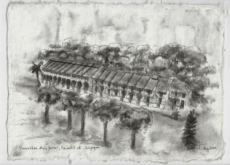 Peranakan  Houses in black & white - Image 0