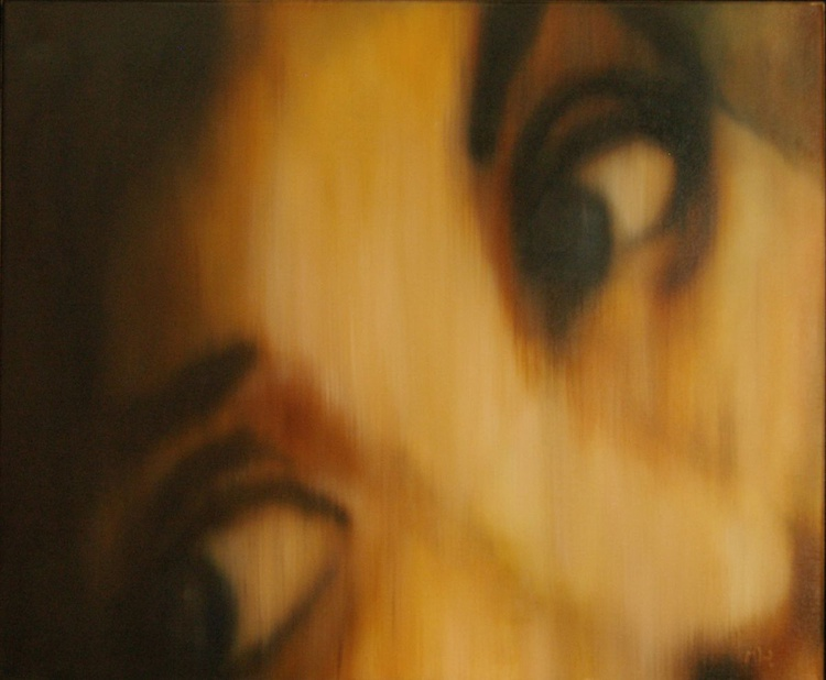The Gaze - A Realistic Portrait ,One of a Kind Original Oil Painting, Ready to Hang - Image 0