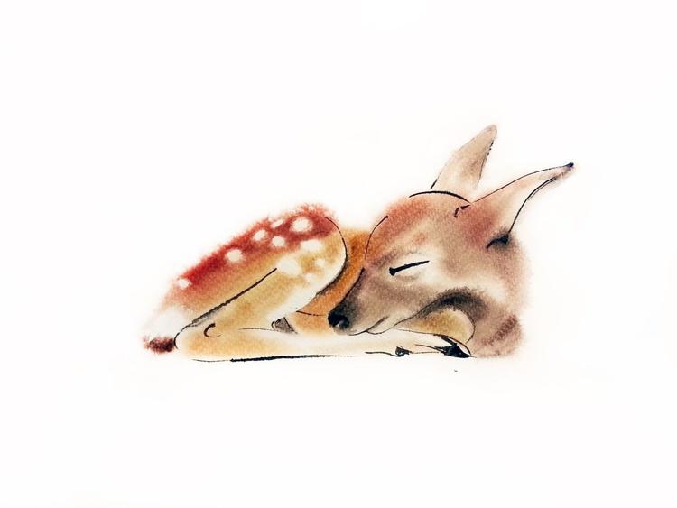 Sleeping Baby Deer - Image 0