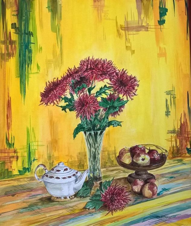 Chrysanthemums, apples and tea pot - Image 0
