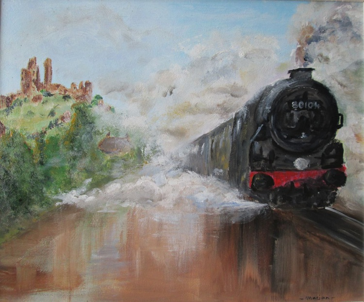 """""""STEAM POWER"""", Steam Train and a Castle, framed 30x25cm/12×10inch - Image 0"""
