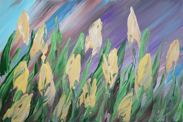 TULIPS 57 small painting 20x30x2cm spring decor original floral art palette knife impasto acrylic on stretched canvas wall art by artist Ksavera - Image 0
