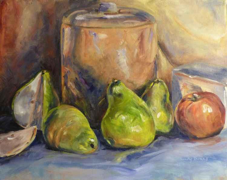 Pears and cookie jar -
