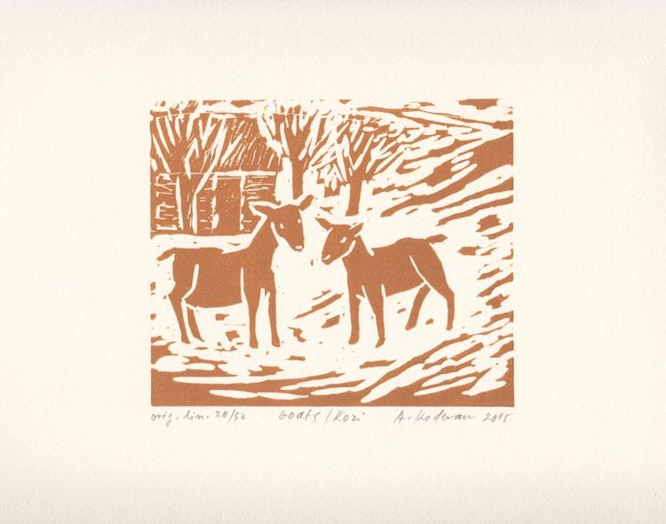 Goats - Kozi, 2015, linocut on paper, 12,2 x 14,4 cm - Image 0