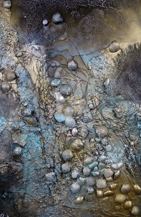 On The Shore - Large 90cm x 60cm, heavily textured mixed media painting, ready to hang - Image 0