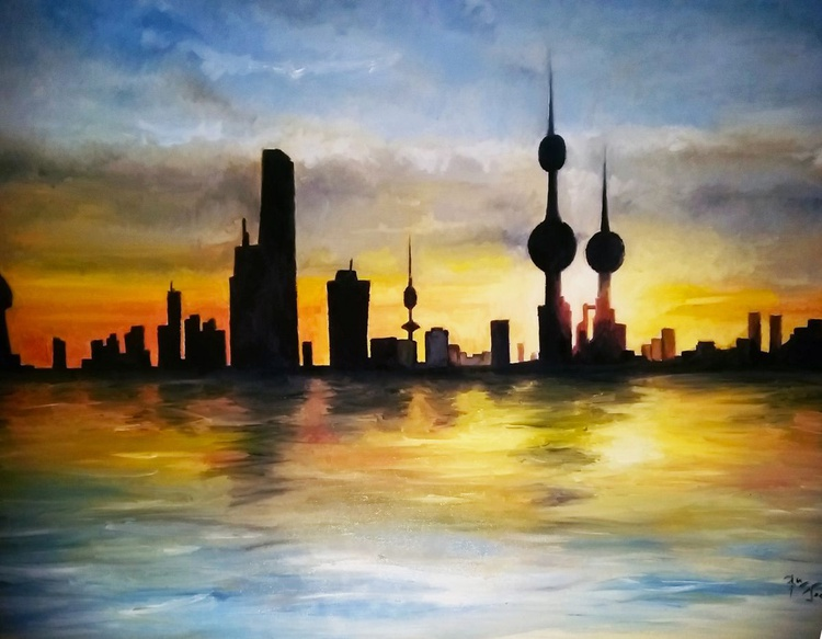 Kuwait city summer sunset seen from the  bay - Image 0
