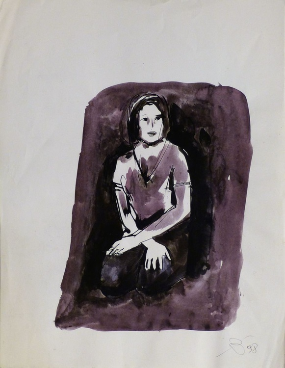 Sitting Model, study 2, 30x39 cm - Image 0