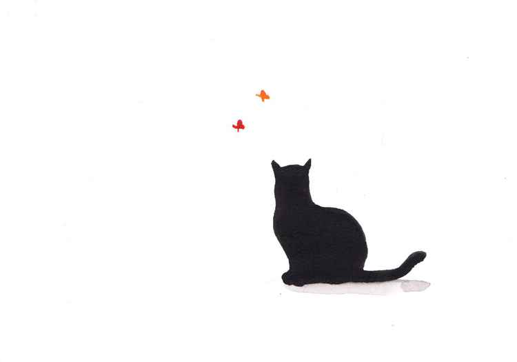 Cat and two butterflies 2115D