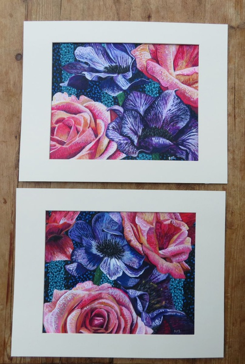 Roses and Anemones. Pair - Image 0