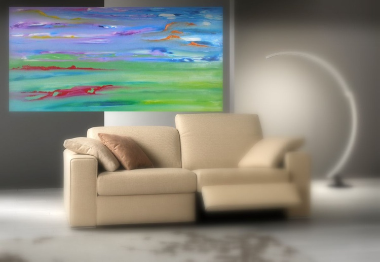 Silent gaze - 80x40 cm, Original abstract painting, oil on canvas - Image 0