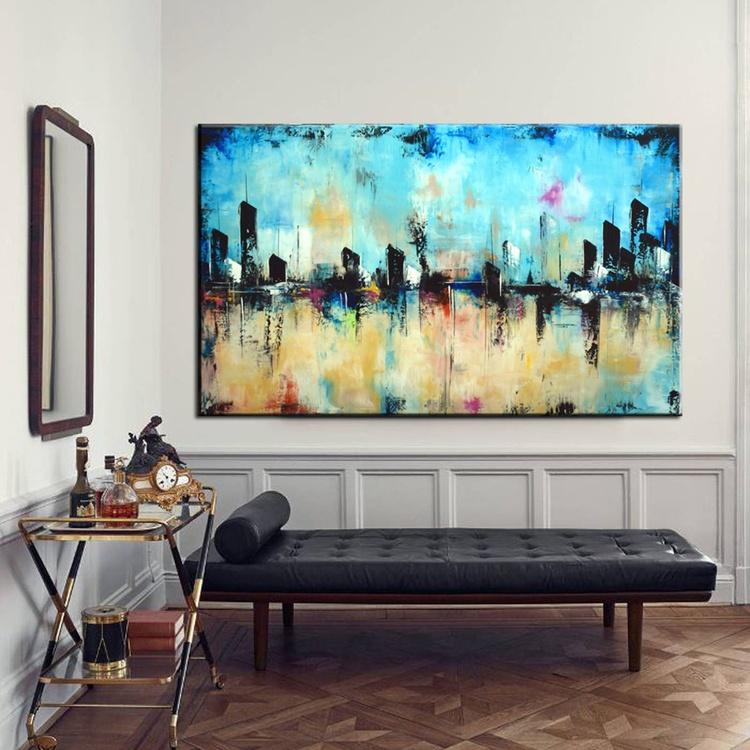 Into the Blue- Larbe abstract Cityscape, modern blue skyline original modern art - Image 0