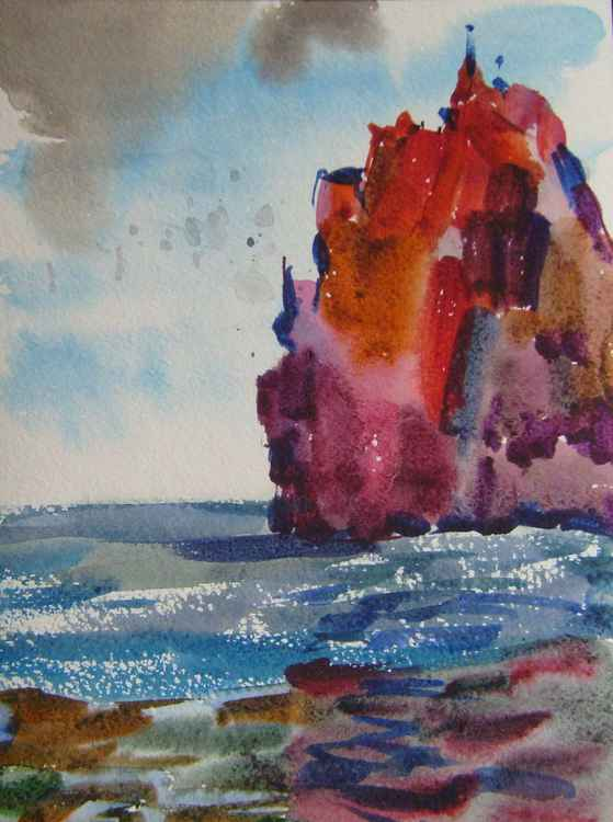 Seascape, original watercolor painting 21x28 cm -
