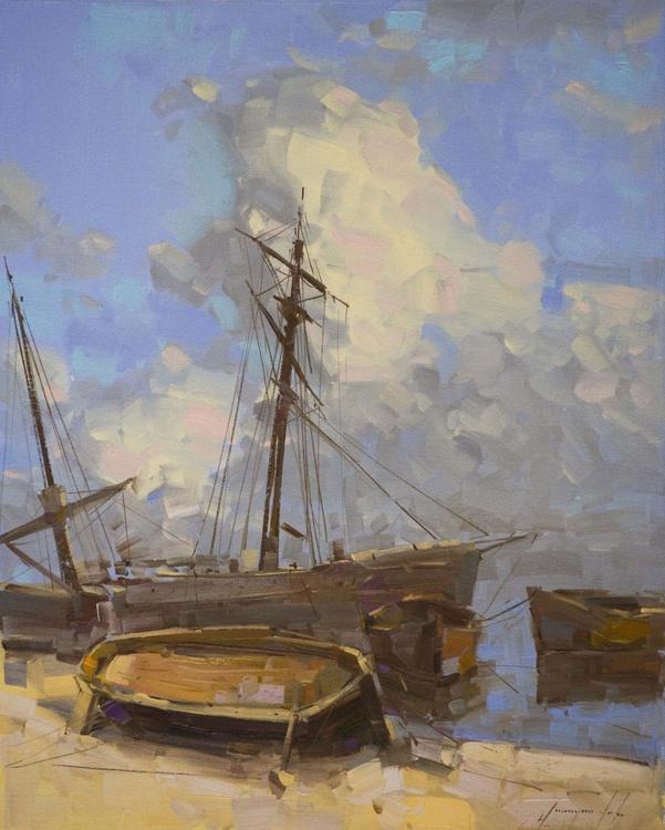 Old Harbor Handmade oil painting Original artwork One of a kind - Image 0