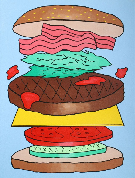 'Burger Deconstructed' Large Pop Art Painting On Canvas - Image 0