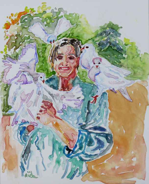 Woman with Pigeons -