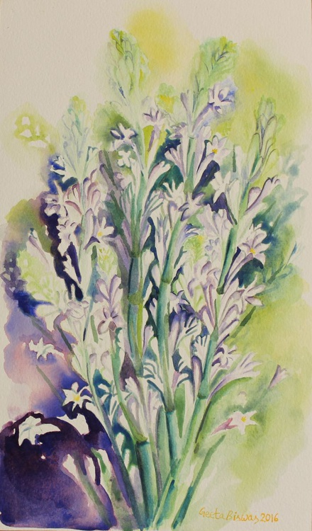 Tuberose flowers, still life in watercolor, gift - Image 0
