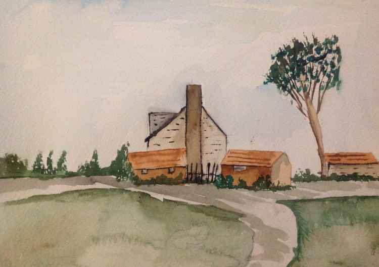 The homestead,watercolour -