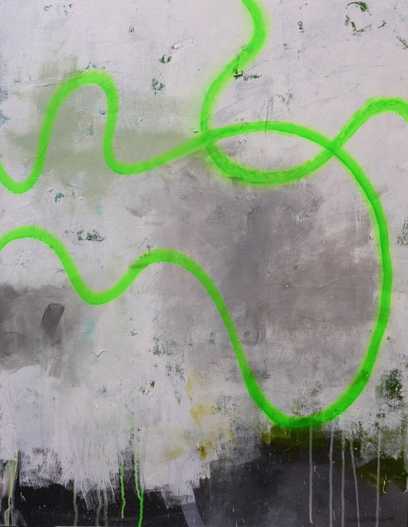 Drift Line (green)   large abstract   white grey green turquoise   Work No. 2016.41 - Image 0