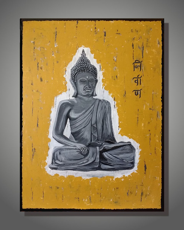 Large Buddha Painting, Gray Textured Contemporary Art, Acrylic Painting on Canvas - Image 0