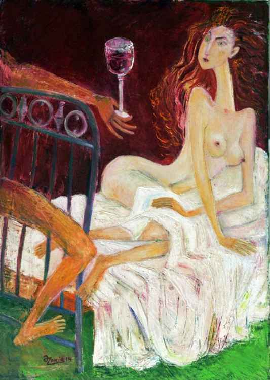 .In Bed 2013year27x19in Original Painting Oil on Canvas FOR SALE