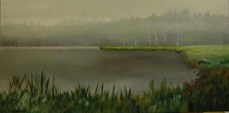 Misty Morning Large Acrylic Painting - Image 0