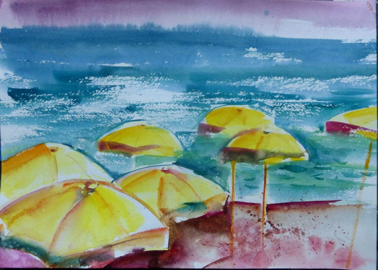 Umbrellas on the beach II,  42x30 cm - Image 0