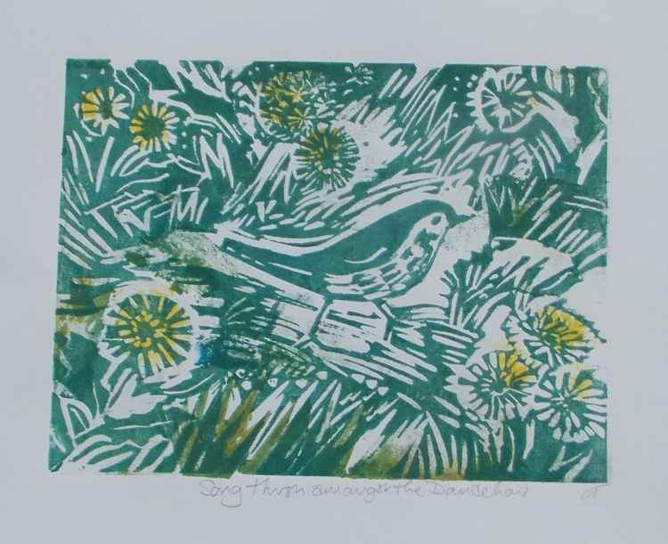 Song Thrush Amongst the dandelions (in green ink)