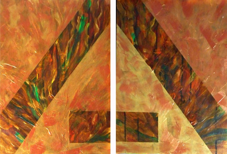 Precious Metals abstract diptych - Image 0