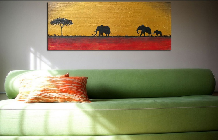 "original elephant abstract landscape ""elephants of the sudan"" africa animal painting art canvas - 100 x 40 cm/40x16"" - Image 0"