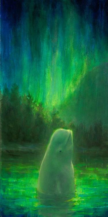 Aurora Beluga - Vivid Northern Lights and Beluga Whale by Karen Whitworth - Image 0