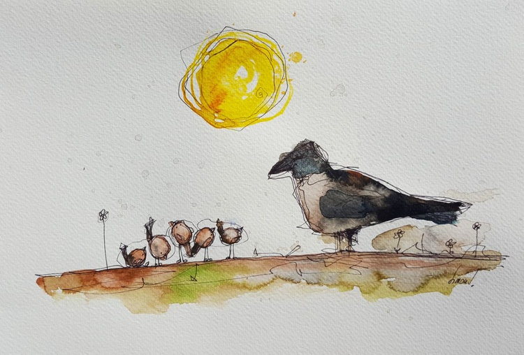 Crow and sparrows - Image 0