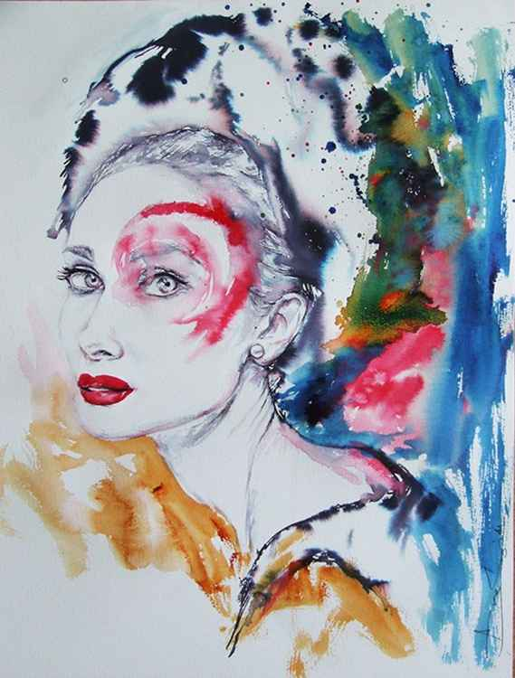 Original Painting of Audrey in colours