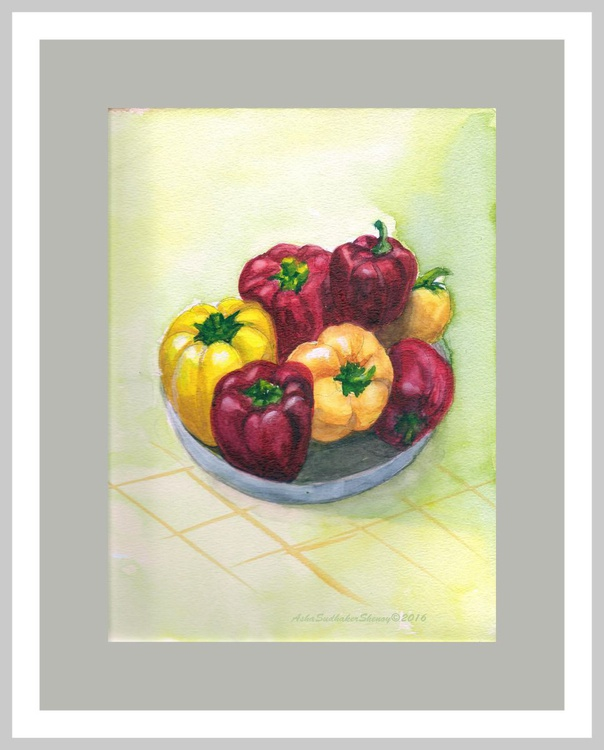 """Still life with Seven Capsicums- 9""""x 12"""" - Image 0"""