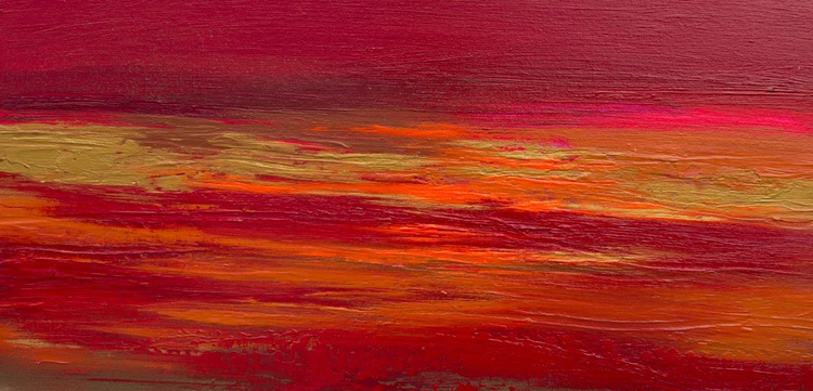 Crimson Sky - 60cm x 30cm, ready to hang - Image 0