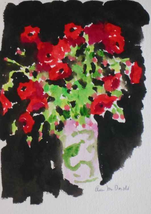 Red Poppies in Vase #6