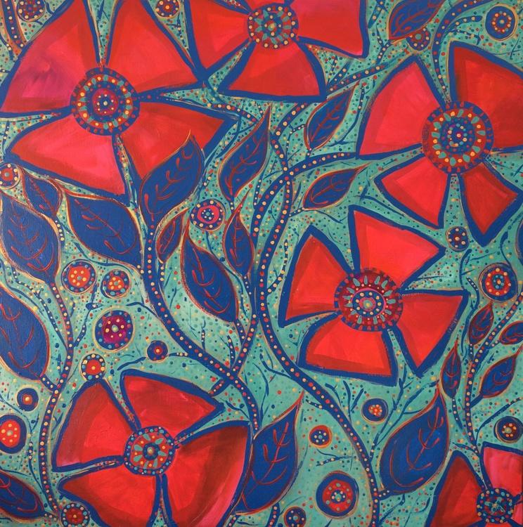 Blue Vines & Red Flowers Three - Image 0