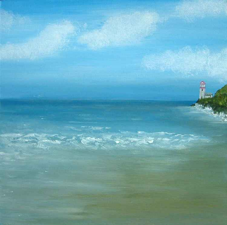 Light house oil on canvas painting,nautical,seaside,seascape,beach
