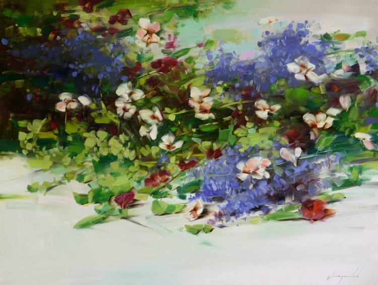 Lavenders and Pansies handmade oil painting - Image 0