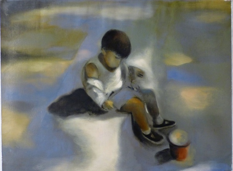 Child Playing, oil on canvas, 60x81 cm - Image 0