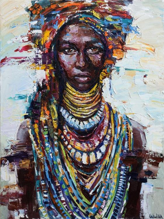 African Queen portrait painting, Original oil painting - Image 0