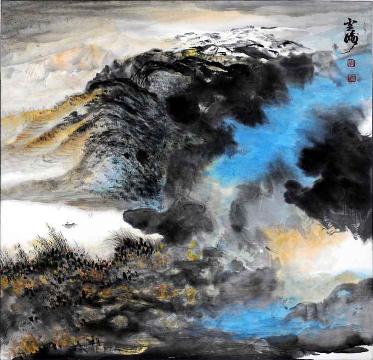 Chinese watercolour Landscape paining, with heavy colour-17 -