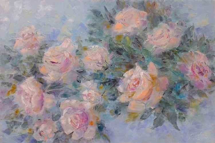 painting *Прекрасной розы аромат ,тебя разбудит поутру...* Oil on canvas 90х60 cm -