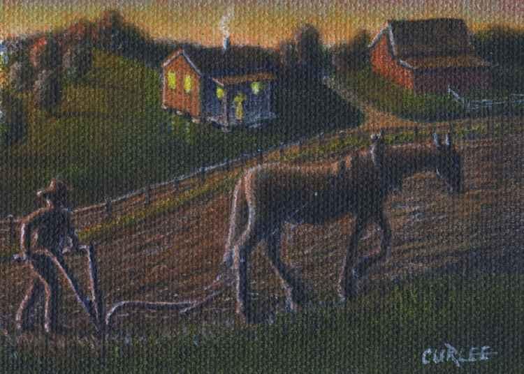 Plowing til Sunset Farm Landscape -