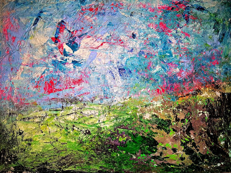 Senza Titolo 186 - abstract landscape - ready to hang - 105 x 79 x 2,50 cm - acrylic painting on stretched canvas - Image 0