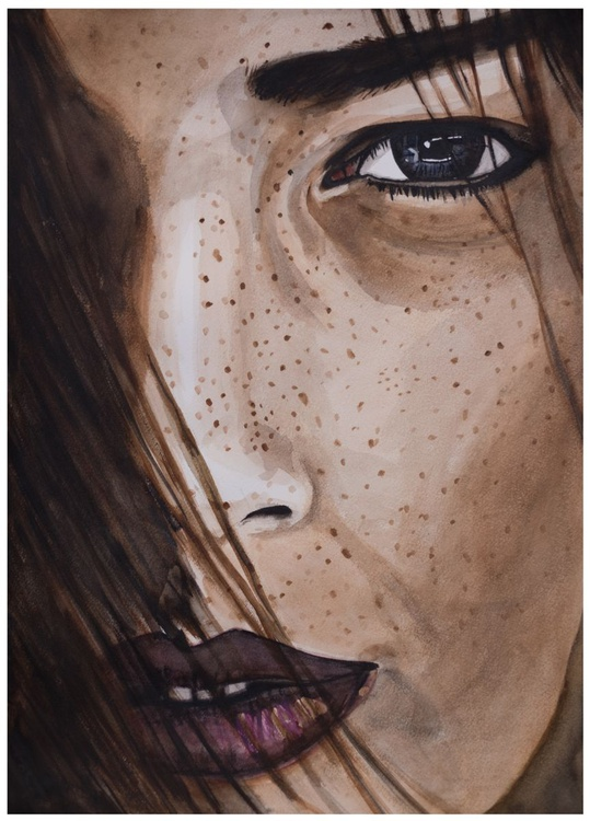 'Freckles' - A half portrait - water colour / paper / model/ painting / girl / lady/ beauty / beautiful - Image 0