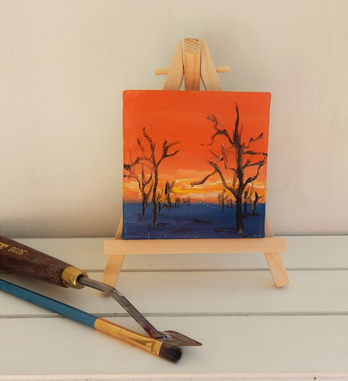 Fantasy Landscape Miniature. Easel is included. Gift painting. Ready to hang. - Image 0