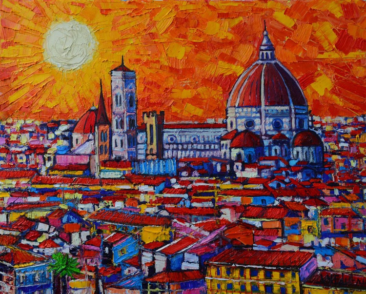 ABSTRACT SUNSET OVER DUOMO IN FLORENCE ITALY - Image 0