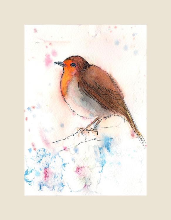 "Pensive Robin 5""x 7"" - Image 0"
