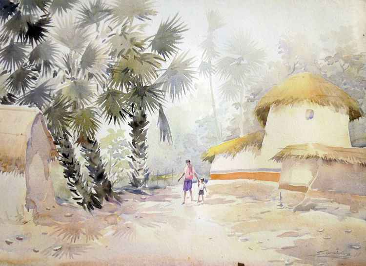 Beauty of Bengal Village - Watercolor Painting -